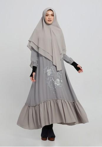 Anggiasari Mawardi grey Nadiva Embroidery Dress Syar'i Grey C9401AA2173BE7GS_1