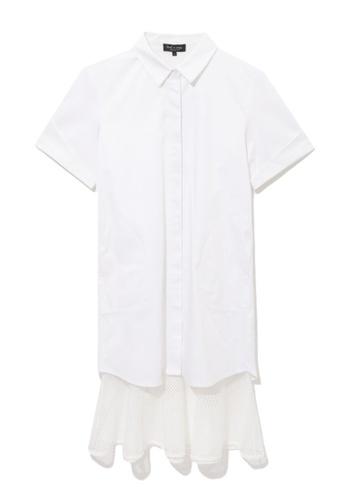 tout à coup white Layered mesh hem shirt dress D2EEFAAC3F68FEGS_1