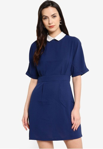 ZALORA WORK navy Contrast Collar Pleated Mini Dress 367ACAA7EE348AGS_1