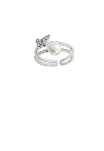 Glamorousky white 925 Sterling Silver Fashion and Elegant Butterfly Freshwater Pearl Adjustable Open Ring with Cubic Zirconia C9FB9ACB52AF51GS_1