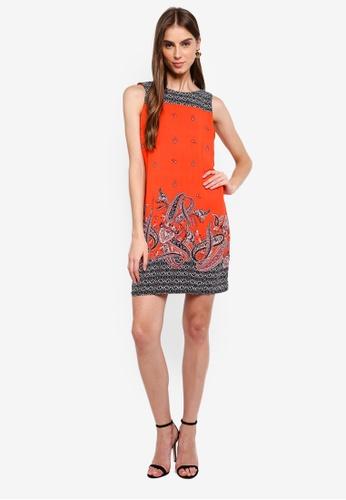 7e22935459 Buy Wallis Petite Red Paisley Print Shift Dress Online