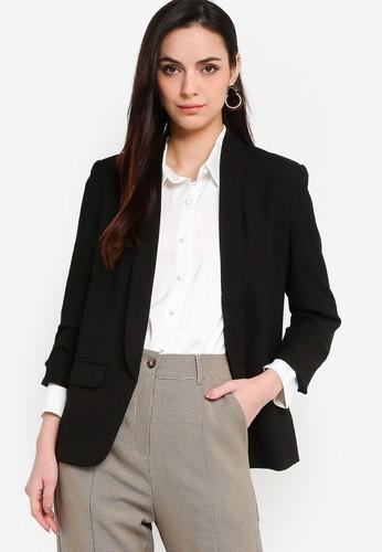 ZALORA WORK black Ruched Sleeves Blazer 3635AAA742930DGS_1