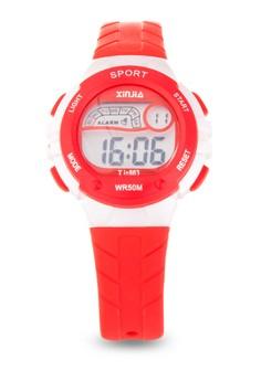 Kid's Red Digital Pastel Waterproof Sport Watch Plastic Strap XJ-863