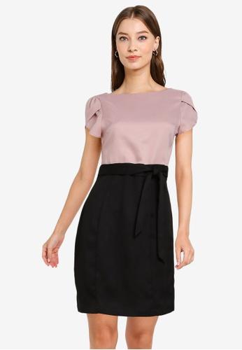 ZALORA WORK multi Petal Sleeves Colourblock Dress AB366AA37929FAGS_1