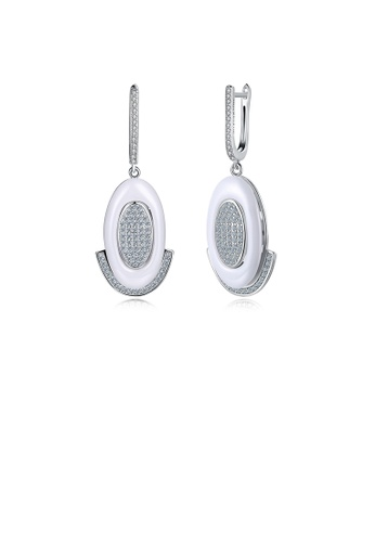 Glamorousky white 925 Sterling Silve Simple Elegant Noble Romantic White Geometric Oval Circle Earrings with Cubic Zircon 1A5E8AC3070E81GS_1