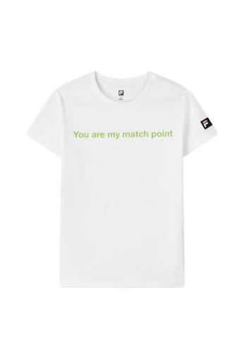 "FILA white FILA x MSGM ""YOU ARE MY MATCH POINT"" T-shirt 11C7DAA6C65103GS_1"