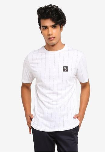 0b5945b2c39323 River Island white Maison Riviera Stripe Slim T-Shirt 0F1F6AAF0326B4GS 1