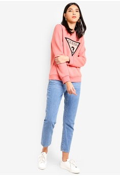 83eb9125a609b 20% OFF Guess Guess Velvet Triangle Logo Pullover Sweatshirt S  170.00 NOW  S  135.90 Sizes XS S M L