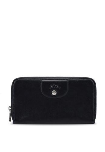 LONGCHAMP black Le Pliage Cuir Zip Around Wallet BA7E1AC30CA8FFGS_1