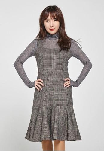 韓流時尚 彩色方格圖zalora 手錶案魚尾裙 F4077, 服飾, 洋裝