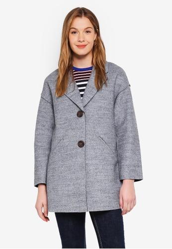 WAREHOUSE grey Long Bonded Coat D21A8AAFC76F12GS_1