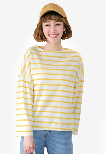 Tokichoi yellow Oversized Striped Top 9B6F3AA8214D37GS_1