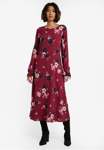 cc72901544 Buy Dorothy Perkins Berry Floral Midi Dress Online | ZALORA Malaysia