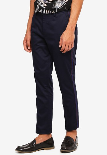 River Island navy Navy Taping Skinny Trousers 66F9AAA31427C5GS_1