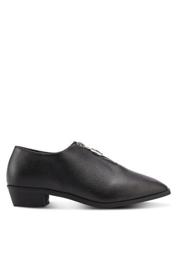 Something Borrowed black Zip Detail Loafers 8F48ASH8A89C7EGS_1