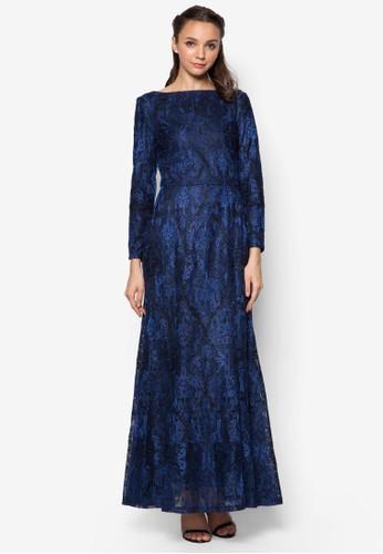 金屬感蕾絲魚尾長洋裝、 服飾、 洋裝Zalia金屬感蕾絲魚尾長洋裝最新折價