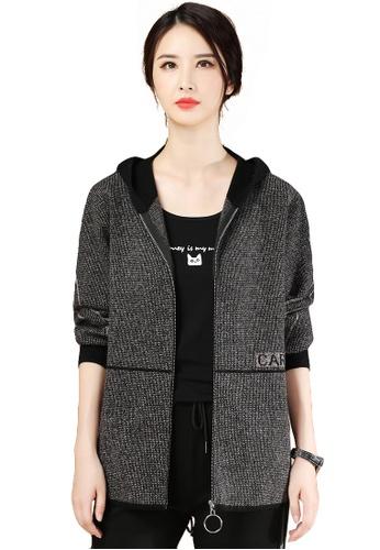 A-IN GIRLS 黑色 寬鬆連帽保暖加厚針織外套 0D700AA8443D6BGS_1