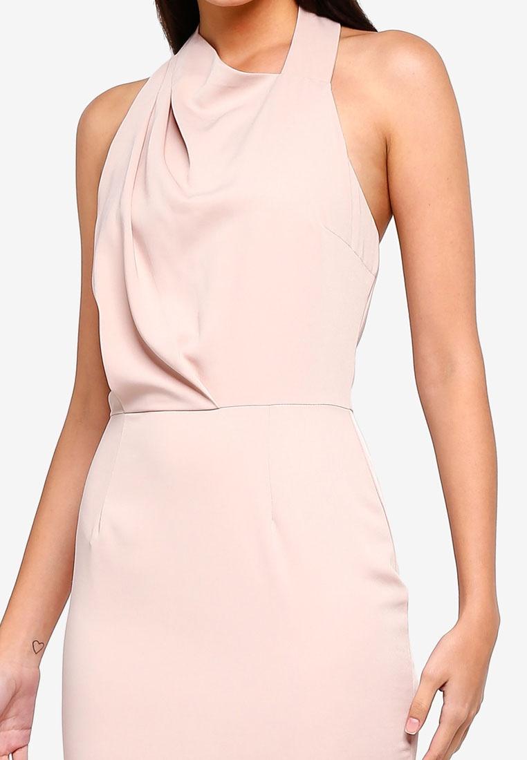 Lavish Halterneck Nude Alice Dress Pleated Mini wx6BqtvxY