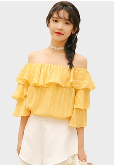 4ea1fe5f44118 Layered Off Shoulder Blouse in Yellow 73C0AAAAE7EAC4GS 1