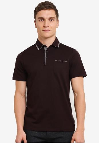 Burton Menswear London 紅色 酒紅色 雙領 POLO 衫 BU964AA0S9QOMY_1