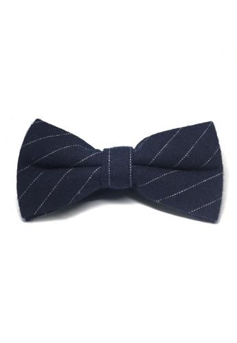 Splice Cufflinks blue Bars Series White Stripes Navy Blue Cotton Pre-Tied Bow Tie SP744AC21UACSG_1