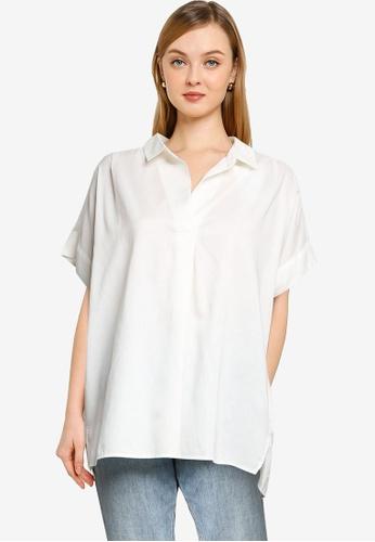 GLOBAL WORK white Woven Short Sleeves Shirt 4C9DCAAB80EB9CGS_1