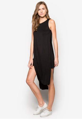 雙層次側開叉連身裙, 服飾, 及膝zalora 衣服尺寸洋裝