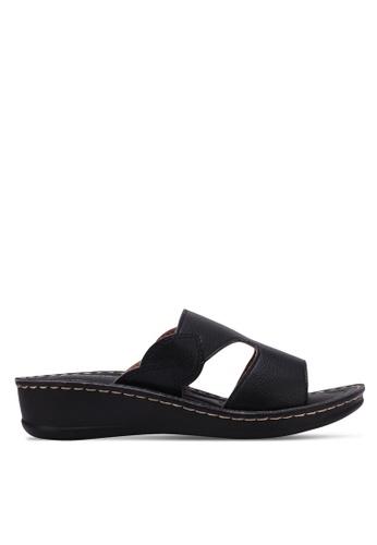 Noveni black Cut Out Wedge Sandals NO978SH0RX3IMY_1