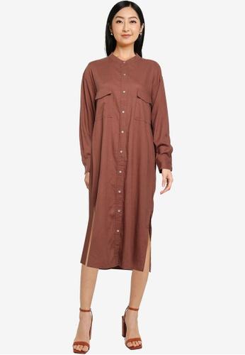 JEANASIS brown Pocket Detail Shirt Dress C3DFFAA7B489BFGS_1