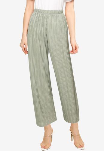 LOWRYS FARM green Plisse Pants 8EC17AA441FE70GS_1