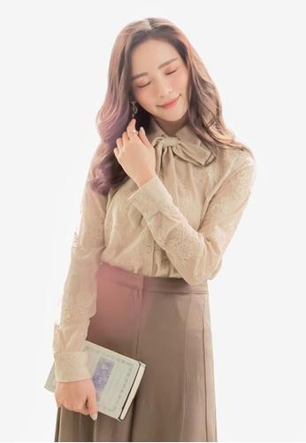 Yoco beige Textured Floral Shirt DD79BAA8CC2894GS_1