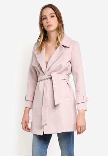 Buy Miss Selfridge Petite Pink Wrap Coat Online | ZALORA Malaysia