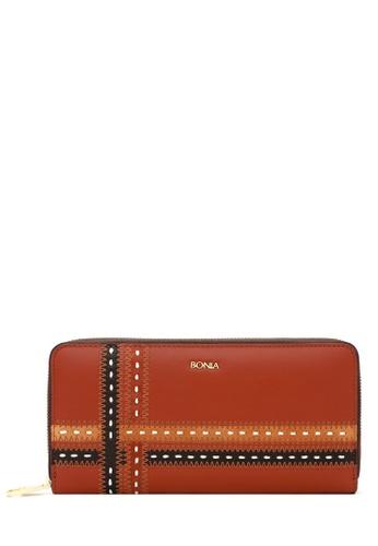 BONIA brown Brown Crossway Zipper Wallet A6741AC3B1CFB4GS_1