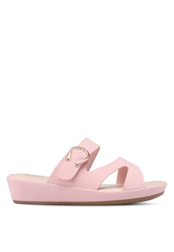 Bata 粉紅色 仿皮金屬釦涼鞋 EE38CSH801EDA3GS_1