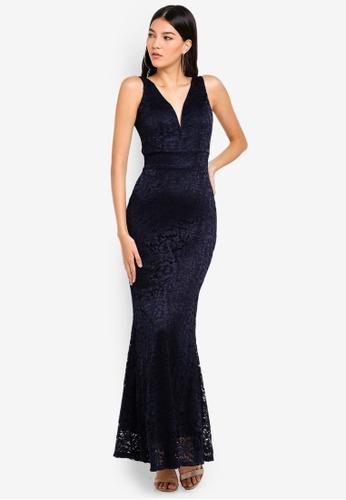 WALG navy V Neck Lace Maxi Dress 8585EAACDBE2DAGS_1