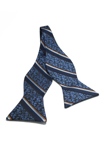 Splice Cufflinks Manual Series Brown Baby Blue & Dark Blue Stripes Blue Self-tied Man Made Silk Bow Tie SP744AC18KZTSG_1