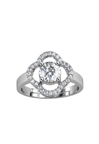 Her Jewellery silver CELÈSTA Moissanite Diamond - Mon Trefle Ring (925 Silver with 18K White Gold Plating) by Her Jewellery F20FFACC240353GS_1