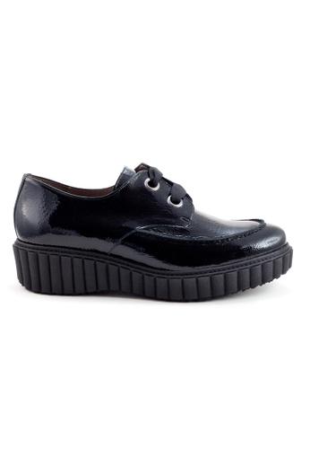 Shu Talk 黑色 舒適型格綁帶漆皮樂福牛皮皮鞋 SH544SH09MT7TW_1