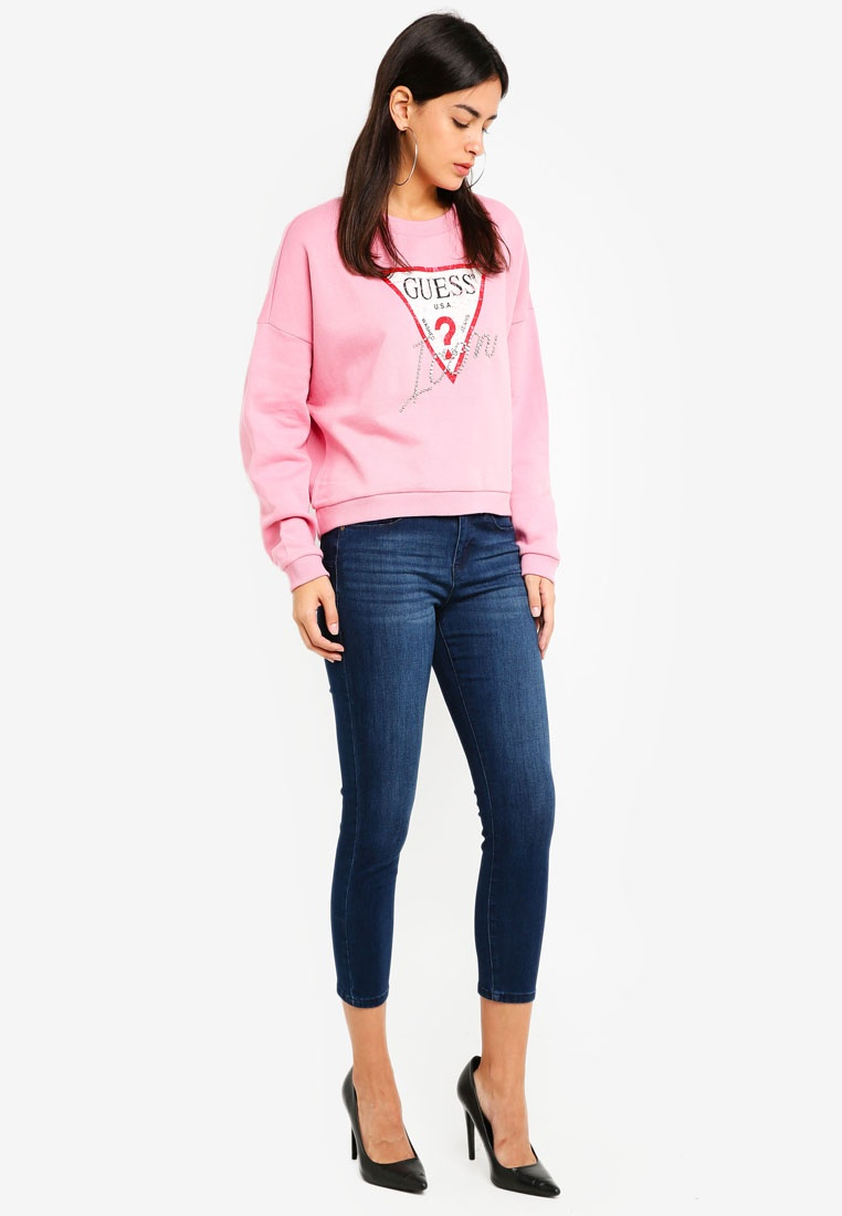 Iconic Triangle Cropped Guess Logo Guess Pink Sweatshirt aqdqU5w
