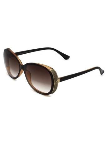 Dandelion brown Glitter Side Detailed Oval Sunglasses C0CEFGL2B62364GS_1