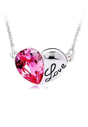 OUXI pink OUXI Titanic Crystal Heart Necklace (Rose) OU821AC07CKUMY_1