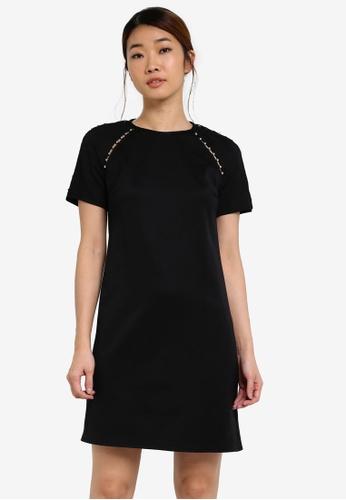 Dorothy Perkins black Pearl Trim Shift Dress DO816AA0SF9TMY_1