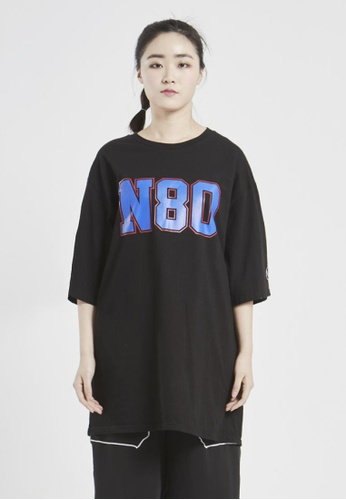 NINETEENEIGHTY black Over Fit Vivid Logo Crew Neck T-shirt NI195AA15XCASG_1