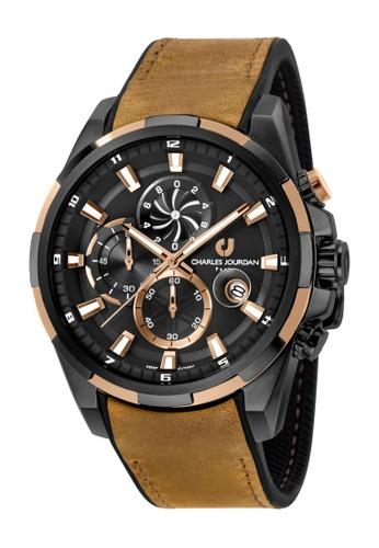Charles Jourdan brown Charles Jourdan Men CJ1027-1772C Brown Silicone Leather Watch CH774AC0W933ID_1