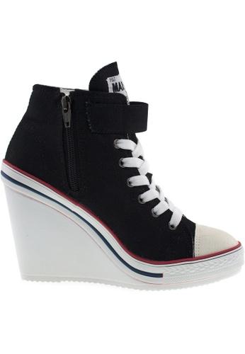 Maxstar black Maxstar Women's 777 One Buckle Strap Canvas High Wedge Heel Sneakers US Women Size MA164SH55POISG_1