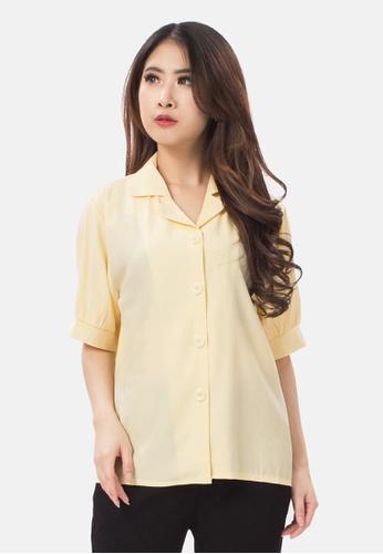 MKY Clothing yellow MKY V-Collar Shirt in Yellow 238CEAAE4E60BFGS_1