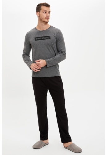 DeFacto grey Regular Fit Top & Bottom Pyjamas Set 22DDDAAEA99EEBGS_1