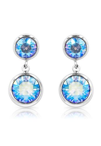 SO SEOUL blue and silver Bella Double Light Sapphire Shimmer Swarovski® Crystal Dangle Earrings AAED3ACD0E7D3CGS_1