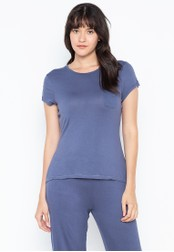 DEBENHAMS blue Lounge & Sleep - Btrfly Vcose Plain Ss Top 01DABAAA9B5932GS_1