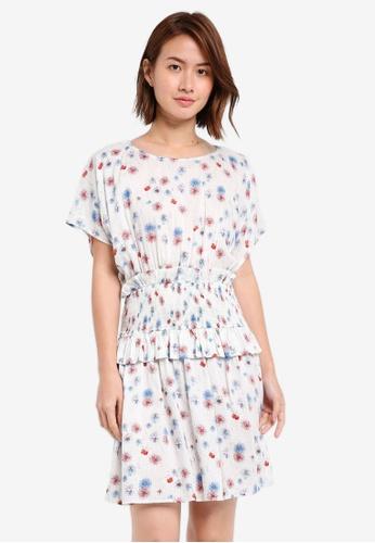 ZALORA white Oversized Smocked Waist Dress E807AAA08794F7GS_1